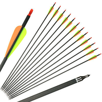 IRQ Archery 12 X 31''Carbon Arrows Hunting Spine 400 For Compound Recurve Bow