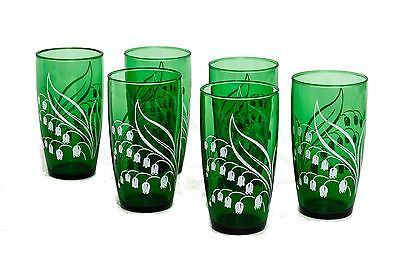 VINTAGE 1960s ANCHOR HOCKING FOREST GREEN LILY OF THE VALLEY GLASSES, SET OF 6