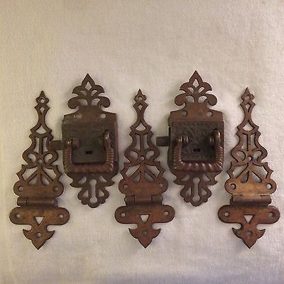 Antique Brass Icebox (3) Hinges And (2) Latches Set!