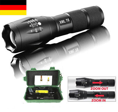 8000LM Militär Taktisch T6 LED Taschen-lampe Flash-light Fokus Zoom 18650 DE001
