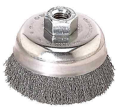 Bosch WB504 3-Inch Cup Brush, Knotted, Stainless Steel, 5/8-Inch x 11 Thread