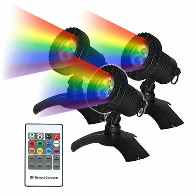 3 x Submersible LED MULTI COLOUR Pond Lighting kit with Remote - suits garden
