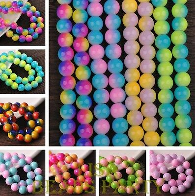 New 30~300pcs Round Glass Loose Spacer Colorful Beads 6mm 8mm 10mm 12mm Bulk