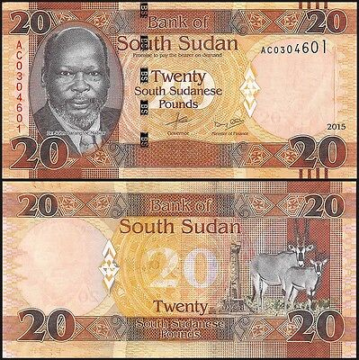 South Sudan 20 Pounds, 2015, P-NEW, UNC