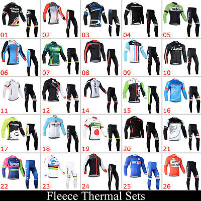 New Mens Bike Team Winter Cycling Long Sleeve Jersey Tights Suits Thermal Fleece