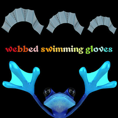 Swimming Finger Webbed Gloves Frog Hand Silicone Fins Flippers Paddle Training