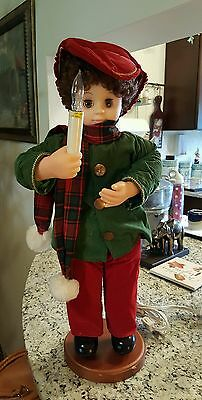"""VINTAGE 24""""  TELCO ANIMATED BOY  CAROLER BOY With Lighted Candle"""
