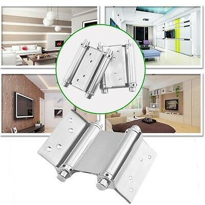 """2Pcs 3"""" Stainless Steel Inch Double Action Spring Hinge Saloon Cafe Door Swing"""