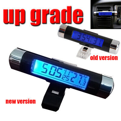Clip-on Car LCD Digital Backlight Month Date Electronic Clock Thermometer