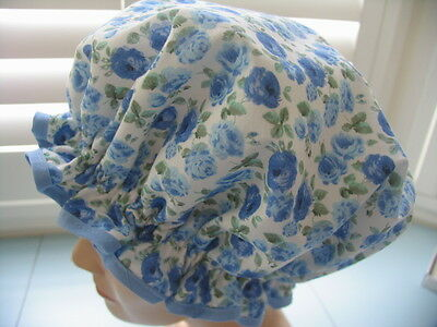 SHOWER CAP HAT   HANDMADE, WATERPROOF blue with shabby chic roses Cotton