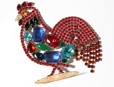 Standing handmade large rooster cockerel Easter ornament Czech glass rhinestones