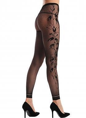 Black Fishnet Floral Opaque Footless tights pantyhose ladies stockings