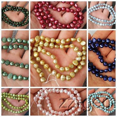 SP0066qb Natural 6-7MM potato Freshwater pearl loose Beads 15''