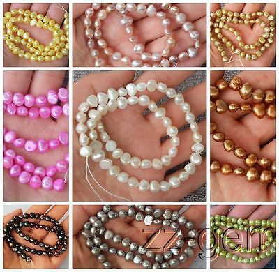 SP0066q Natural 6-7MM potato Freshwater pearl loose Beads 15''