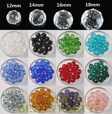 Wholesale Big Crystal Rondelle Faceted Loose Spacer Glass Beads 12/14/16/18mm