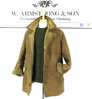 Men's Brown REAL SHEEPSKIN LEATHER Shearling 70s MOD BOHO Indie Chunky Coat UK M