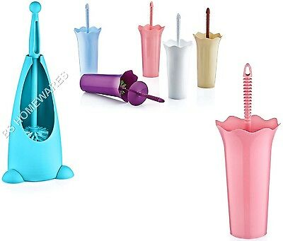 New Plastic Toilet Brush And Holder Set Free Standing WC Bathroom Cleaning Brush
