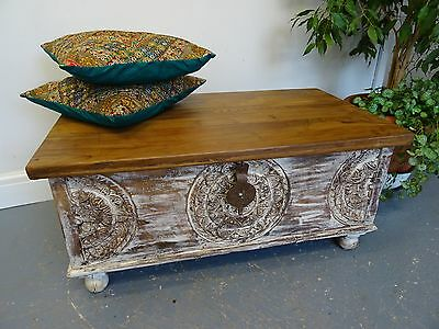 Rajasthan Flower Carved Wooden Box, Painted Chest 97cm Wide, Indian Chest B4