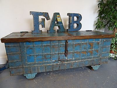 Very large Rajasthan Wooden & Metal Chest 152cm Blue Indian Chest On Wheels B6