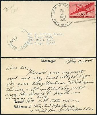 GILBERT + ELLICE Is US NAVAL CENSOR 1944 + FLEET SECOND DEFENSE on LETTERCARD