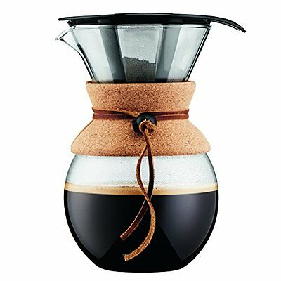 Bodum 11571-109 Pour Over 1 L Coffee Maker with Permanent Filter, 34 oz, Cork
