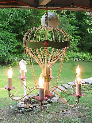 Vintage 6 Light Hot Pink,green & Ivory Tole Hot Air Balloon Chandelier W/florals