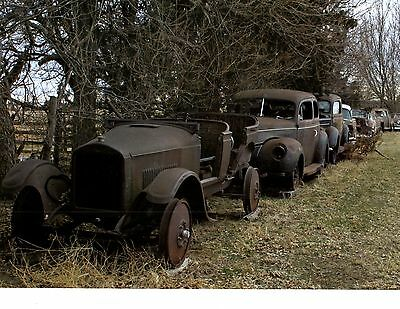 Pre-War Ford Lineup - Abandoned Autos  ~  Awesome Calendar Photo / Picture / Ad