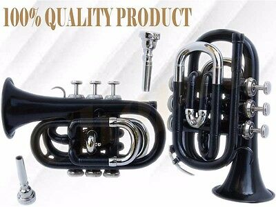 TRUMPET POCKET Bb Black Painted WITH BOX 7C + MOUTH PIECE FREE