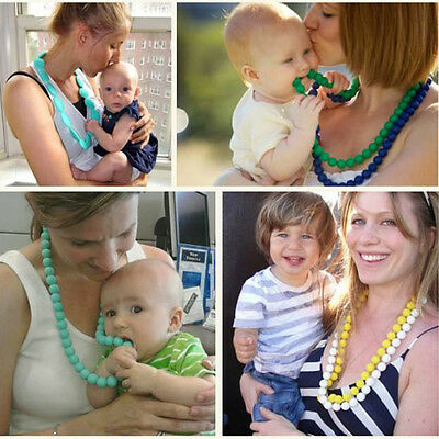 Silicone Chain Baby Teething Necklace Teether Cute Charm BPA-Free Beads Toys