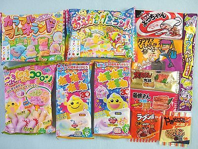 12 PCS SET Japanese Candy Kit Kracie poppin cookin Ramune, Oekaki Gummy Land