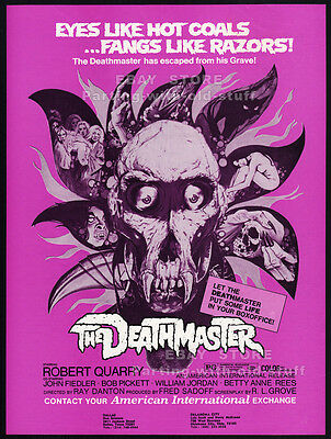 THE DEATHMASTER__Original 1972 Trade Print AD / horror promo__ROBERT QUARRY