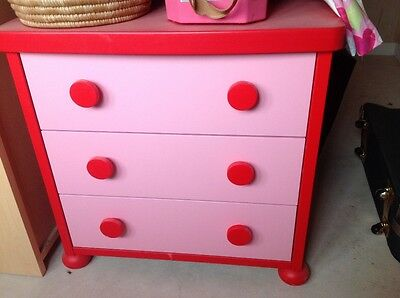 Ikea Mammut Chest of Drawers Pink Red