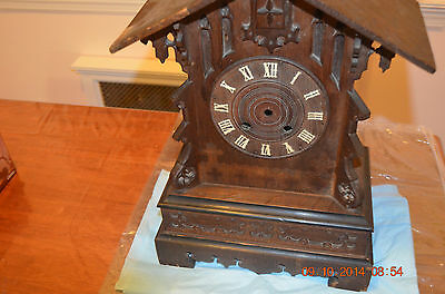 ANTIQUE MANTLE/OR SHELF CUCKOO CLOCK CABINET ONLY for parts or project