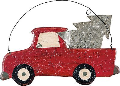 "/""LITTLE RED TRUCK /& TREE/"" Christmas Wooden Ornament//Sign~Primitive//Country"