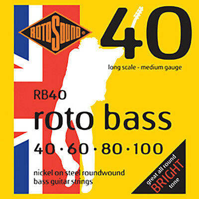 Rotosound RB40 Nickel Medium Gauge Roundwound Bass Strings (40 60 80 100)
