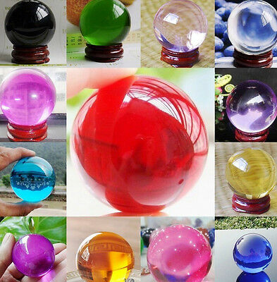 Wholesale 40MM + Stand Magic Asian Ball Natural Crystal Sphere 14 Colors