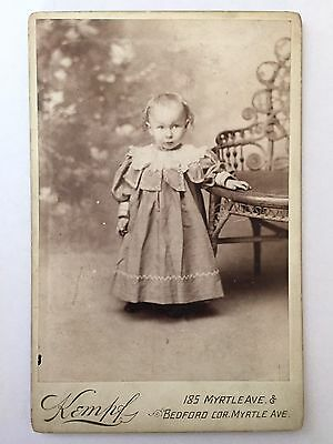 Antique B&W Cabinet Card / Portrait Photograph - Adorable Baby Girl w/ Dress