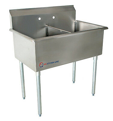"""EQ Compartment Sink Kitchen Commercial Stainless Steel Silver 35""""X24.5""""X43.75"""