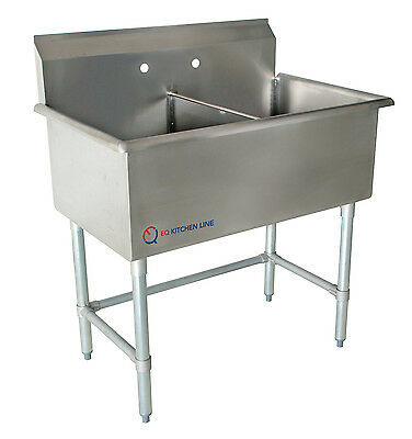 """New Compartment Sink Kitchen Commercial Stainless Steel Silver 39""""X24.5""""X43.75"""""""