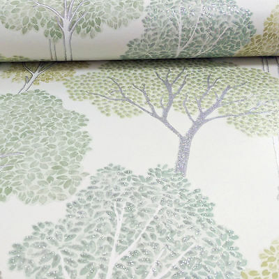 Green Glittering Sparkle Trees Quality Arthouse Luxury Wallpaper 670004