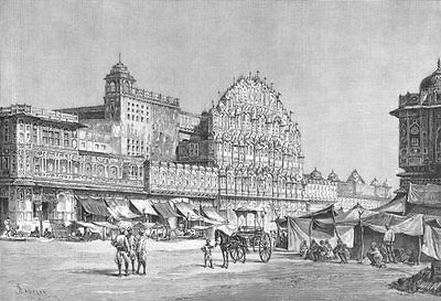 INDIA. Jaipur-view, High Street c1885 old antique vintage print picture