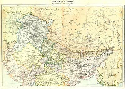 INDIA. North c1885 old antique vintage map plan chart