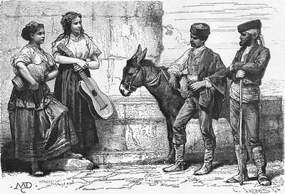 SPAIN. Peasants of Cordoba, Andalusia c1885 old antique vintage print picture