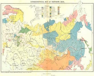 ASIA. Ethnographical North c1885 old antique vintage map plan chart