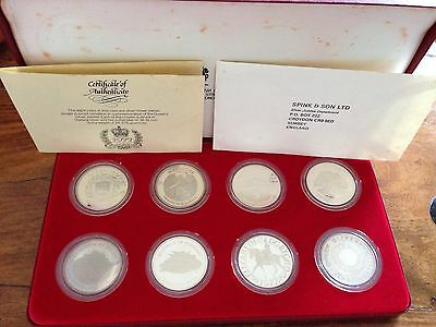 1977 Silver Jubilee .925 Silver Proof Crowns 8 Coin set Boxed and Certificate