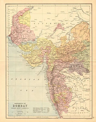BRITISH INDIA. 'Bombay Presidency'. Scinde Gujerat Railways 1876 old map
