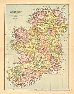 IRELAND. Pre-partition. Counties. Railways. BARTHOLOMEW 1876 old antique map