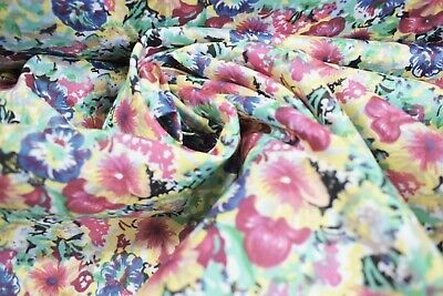 """Craft Apparel Red Yellow Blue Floral Quilting Fabric Print 12 Yards 45/""""W #9961P"""