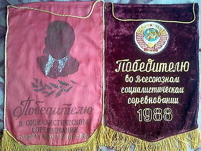 Russia Vintage Propaganda Banner of the two original pennants Soviet times.