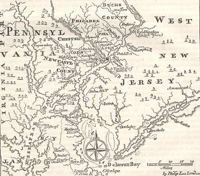 PENNSYLVANIA. & West New Jersey c1880 old antique vintage map plan chart